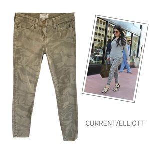CURRENT ELLIOTT THE STILETTO ARMY CAMO JEANS 0 26